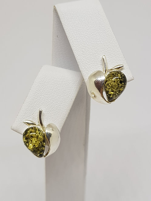 Green amber apple heart silver earrings