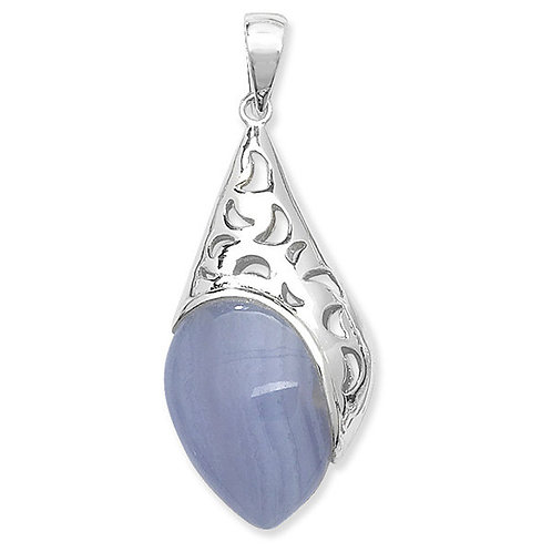 Eco-friendly Natural Blue Agate Moon Pendant