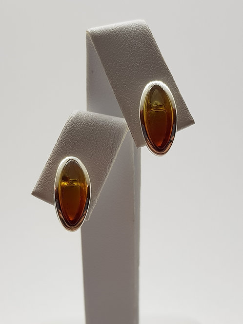 Silver Amber Stud Earrings Hawaiian collection