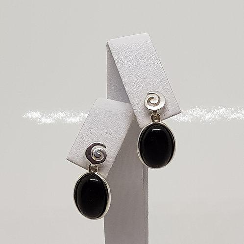Oval Jet spiral drop stud earrings