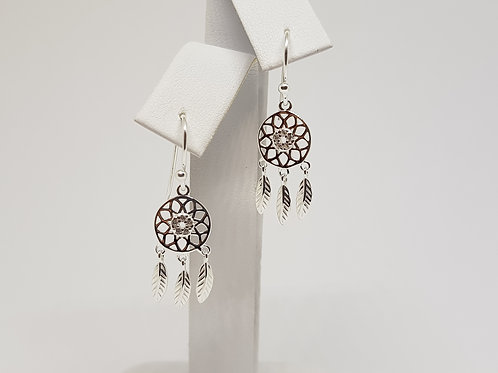 Ojibwe Silver Dreamcatcher Earrings