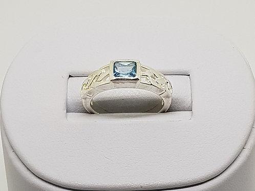 Silver Blue Topaz Celtic Ring
