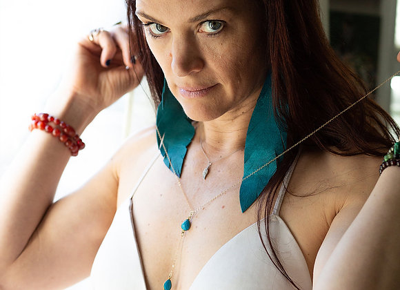 Handcrafted Leather Earrings - Turquoise