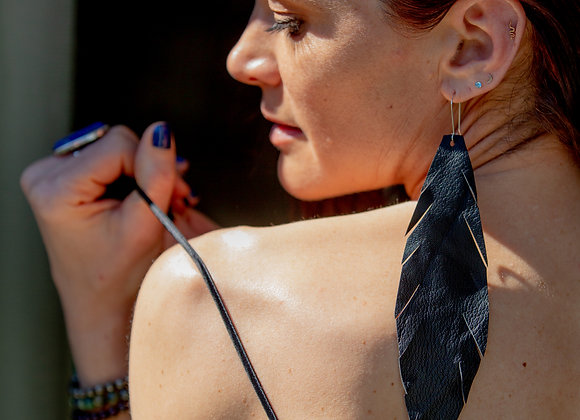 VEGAN Handcrafted Black Leather Earrings - Large