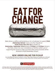 Dine out for Kolb - Chipotle