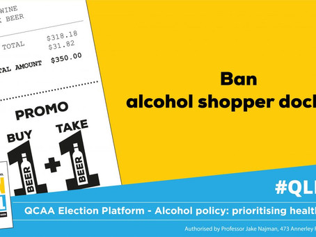POLICY ASK:Ban alcohol 'shopper docket' promotions to reduce the normalisation of alcohol use