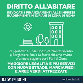 REVOCATI I FINANZIAMENTI REGIONALI IN 12 PIANI DI ZONA DI ROMA E 1 DI FIUMICINO