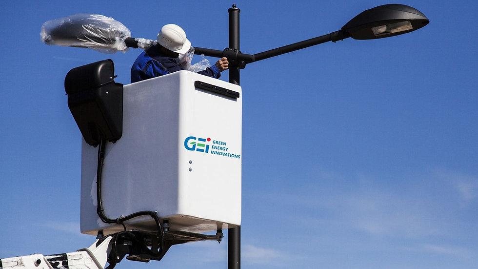 GEI changing parking lot light fixtures
