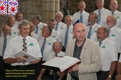 Mayor awards Honorary Citizenship to Loveny at Pont Croix Brittany July 2016