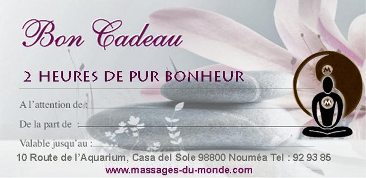 Bon cadeau massage Noumea
