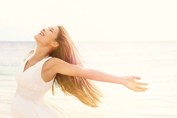 Freedom woman in free happiness bliss on