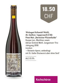Wunderbarer Pinot aus dem Rheintal. Markante frucht nach Sauerkirschen und etwas Lebkuchengebäck. Wi