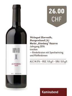 "Merlot ""Altenberg"" Reserve | Weingut Horvath"