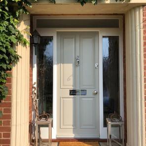 Entrance door with heritage lock