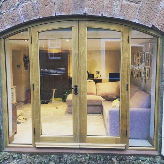 Accoya shaped french doors