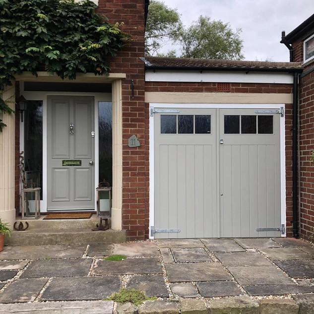 Garage doors and entrance door