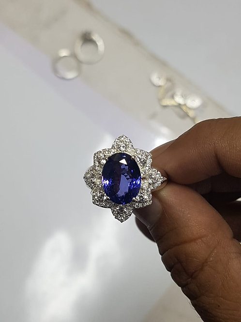 8 Carat Tanzanite and Diamond ring in Sterling Silver