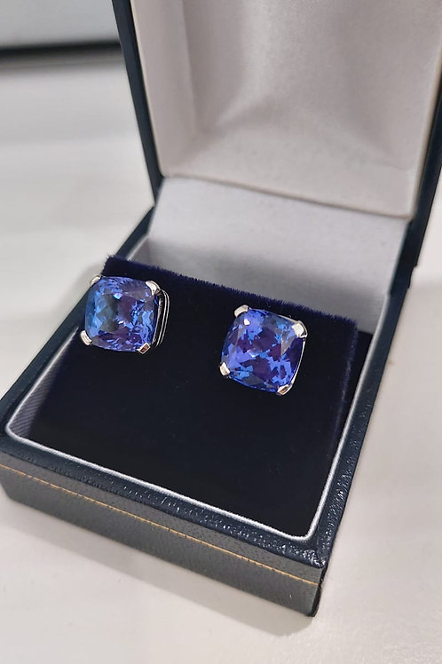 9ct Tanzanite Cushion Cut 14k Gold Earrings
