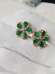 Emerald and Diamond Earrings in Rose Gold