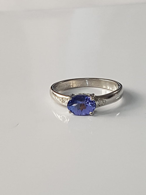 Tanzanite and Diamond Sterling Silver