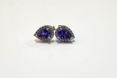 Tanzanite and Zircon Pear Cut Sterling Silver Earrings