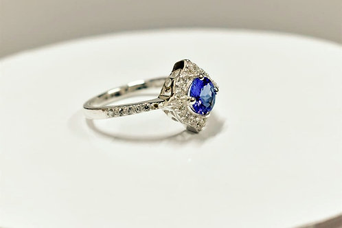 6 mm Tanzanite and Diamond Sterling Silver Ring