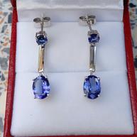 Tanzanite drop earrings set in 9k white gold custom made
