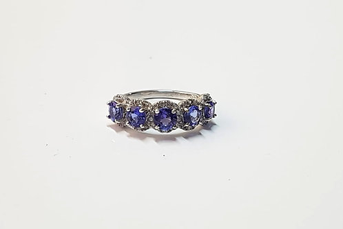 Tanzanite and Zircon Sterling Silver Eternity Ring