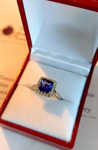 Tanzanite & Diamond Platinum ring custom made