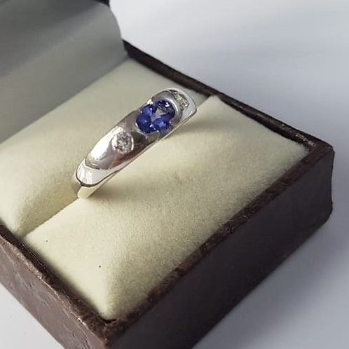 Tanzanite and White Zircon Sterling Silver ring