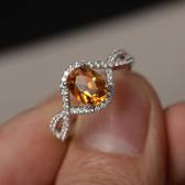 Citrine and Diamond White Gold ring