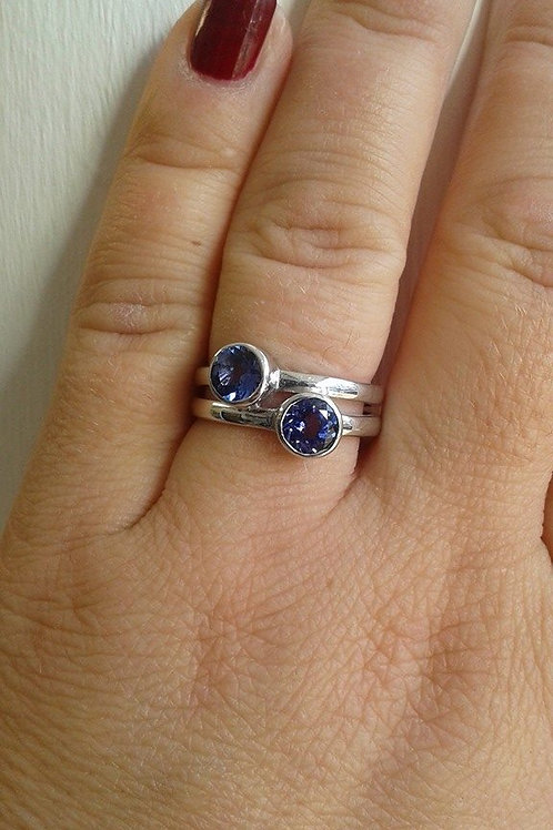 Double Tanzanite Sterling Silver ring