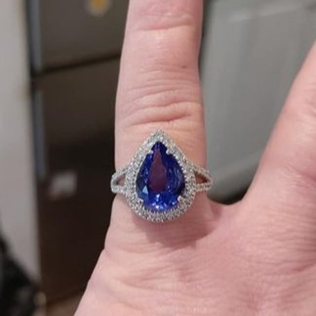 3 carat Pear Cut Tanzanite and Diamond 9k Gold ring