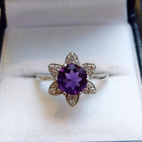 Amethyst and White Zircon Sterling Silver ring