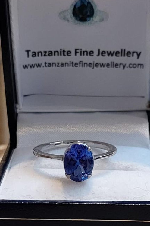 2ct Tanzanite Solitiare AAA Graded Ring