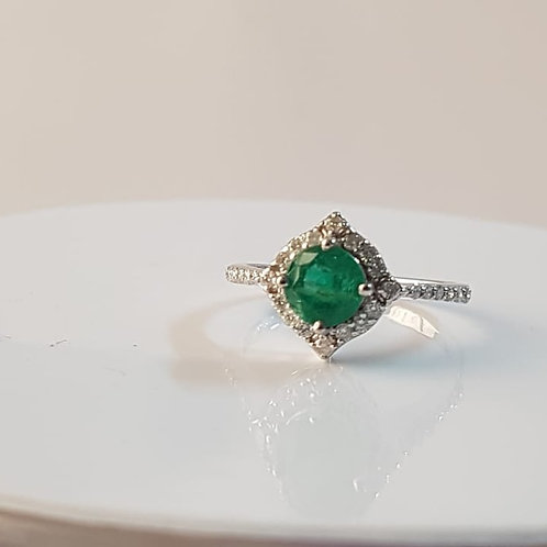 1ct Emerald and Diamond 14k White Gold Ring