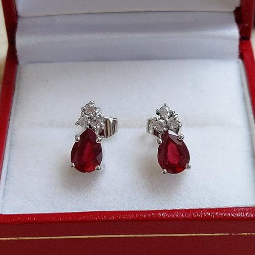 Ruby and Diamond Earrings in 9k Gold