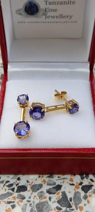 Tanzanite 9k gold drop earrings
