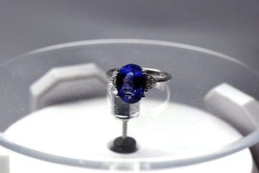 5 Carat Oval Tanzanite and Diamond White Gold Ring