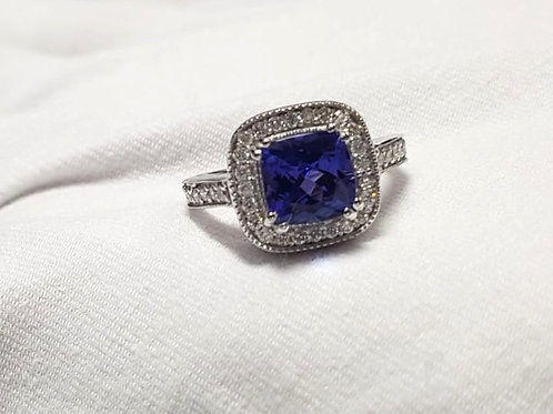Tanzanite and Diamond 3 Carat Ring in Sterling Silver