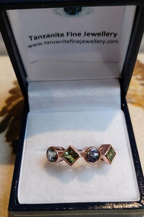 Green Sapphire and Bi-Colour Tanzanite Rose Gold Ring