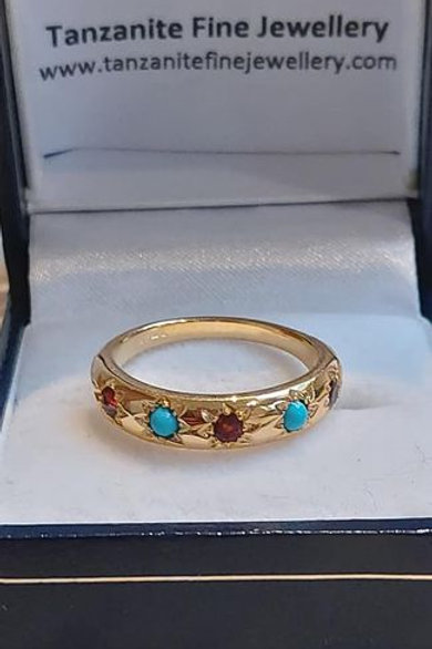 Turquoise and Garnet Gypsy Ring in 9k Gold