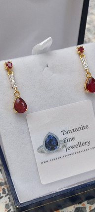 Ruby and Diamond Yellow Gold Earrings