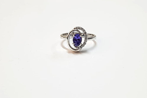 Tanzanite & Zircon Swirl Sterling Silver ring