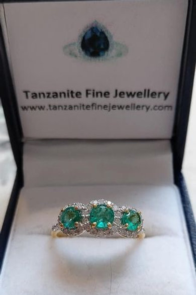 Emerald and Diamond Trilogy Ring in 9k Gold