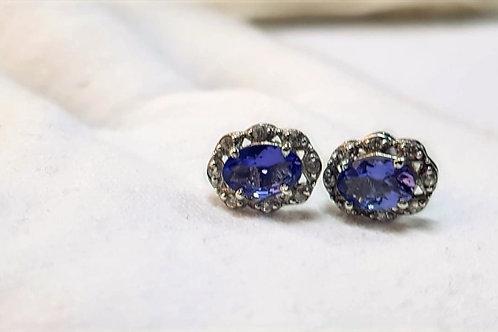 Tanzanite and Zircon Sterling Silver Earrings