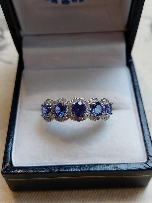 Tanzanite and Diamond 14k Eternity Ring