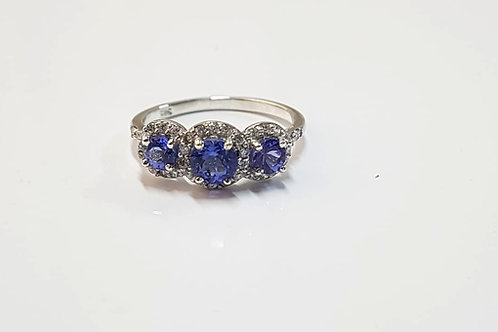 Tanzanite and Zircon Sterling Silver Trilogy Ring