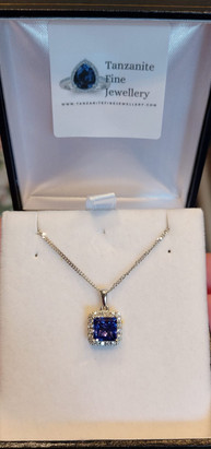 Tanzanite & Diamond Platinum Pendant custom made