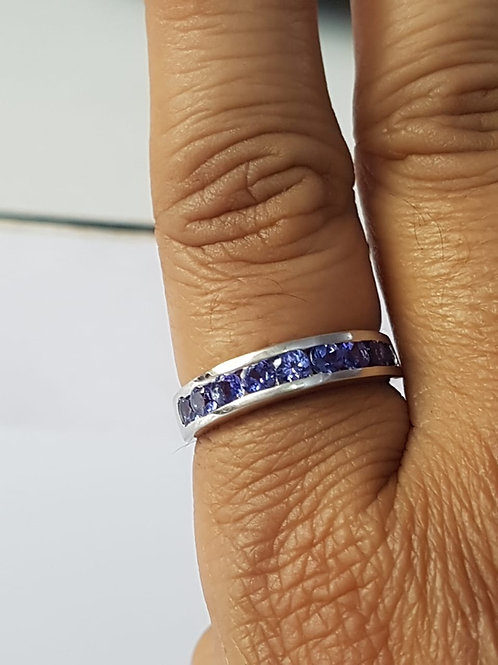 Tanzanite Channel Set Ring in Sterling Silver
